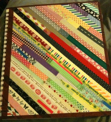 washi tape decorated book cover